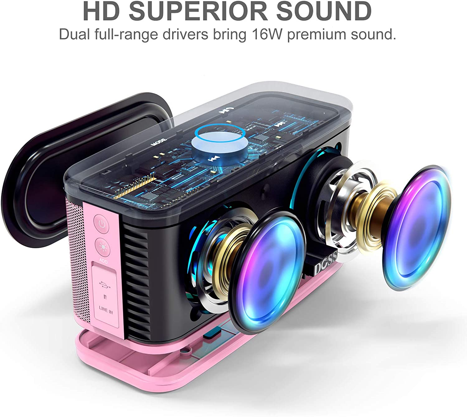 DOSS SoundBox Plus Portable Wireless Bluetooth Speaker with HD Sound and Deep Bass 20H Playtime Outdoor Portable Wireless Speaker for Home Travel-Pink Built-in Mic Wireless Stereo Pairing