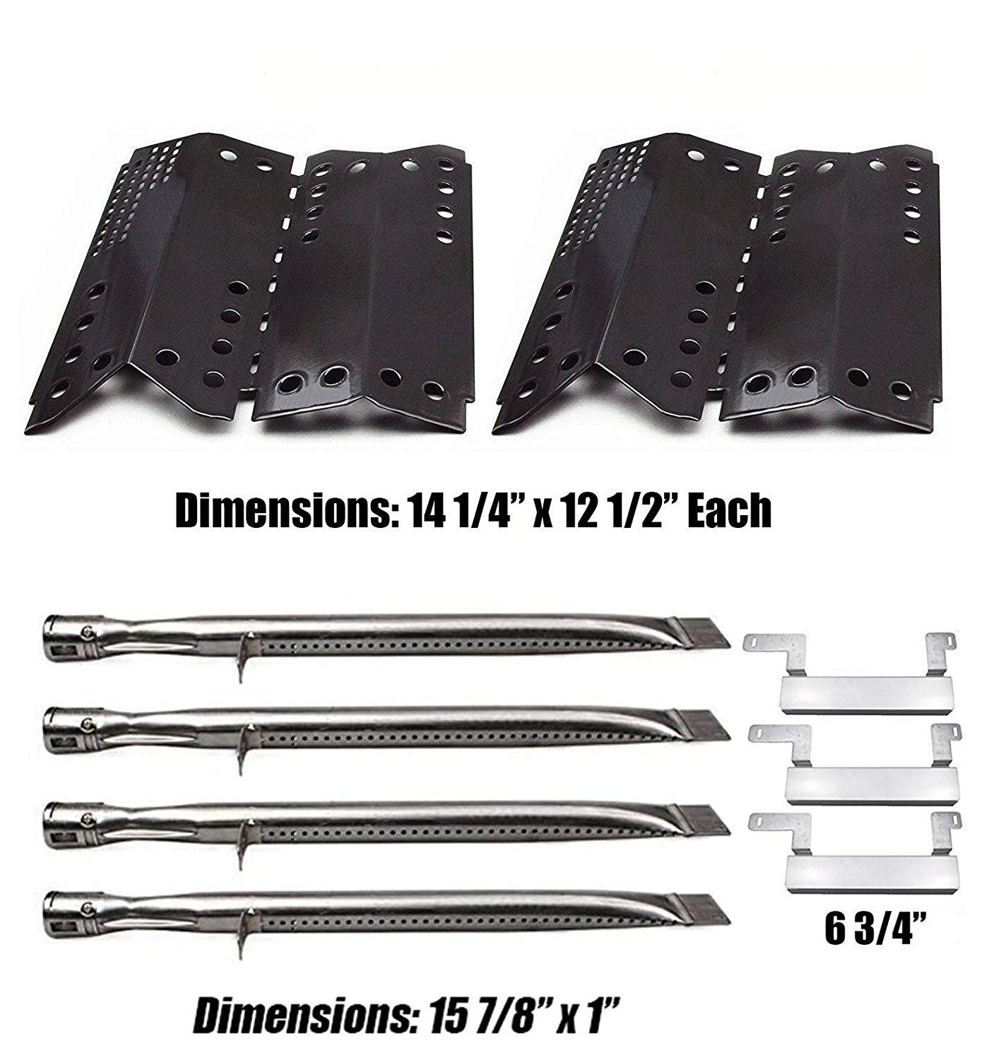 Grill Valueparts Grill Parts Kit for Stok SGP4330SB, SGP4330, SGP4130N, Stok Quattro 4 Burner Grills - 15 7/8 x 1 Stainless Burner, Porcelain Heat Shield, and Crossover Tube by Grill Valueparts
