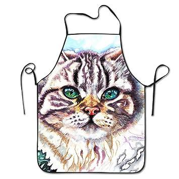 PINTURA gato delantales de cocina para mujeres y hombres – Correa de cuello ajustable – restaurante