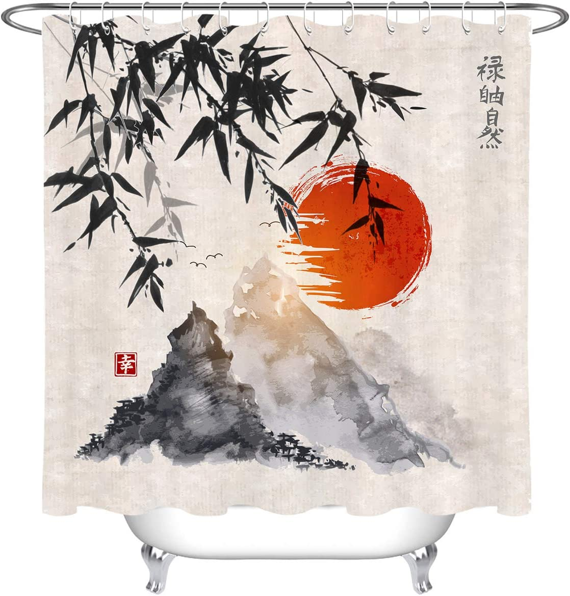 LB Japanese Shower Curtain Black Bamboo Bath Curtain Red Sun and Mountains Asian Ink Painting Anime Bathroom Curtain Set with Hooks,70x70 Inch Waterproof Fabric