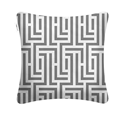 Fabritones Decorative Indoor Outdoor Accent Pillows Patio Cushion Maze Pattern Square Throw Pillow With Insert Grey 1818 Inch