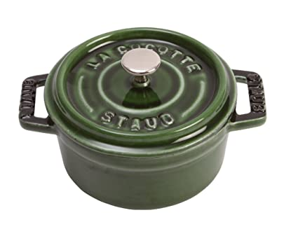 Staub 1101085 - Minicocotte redonda, color verde basilisco, tamaño 10 cm