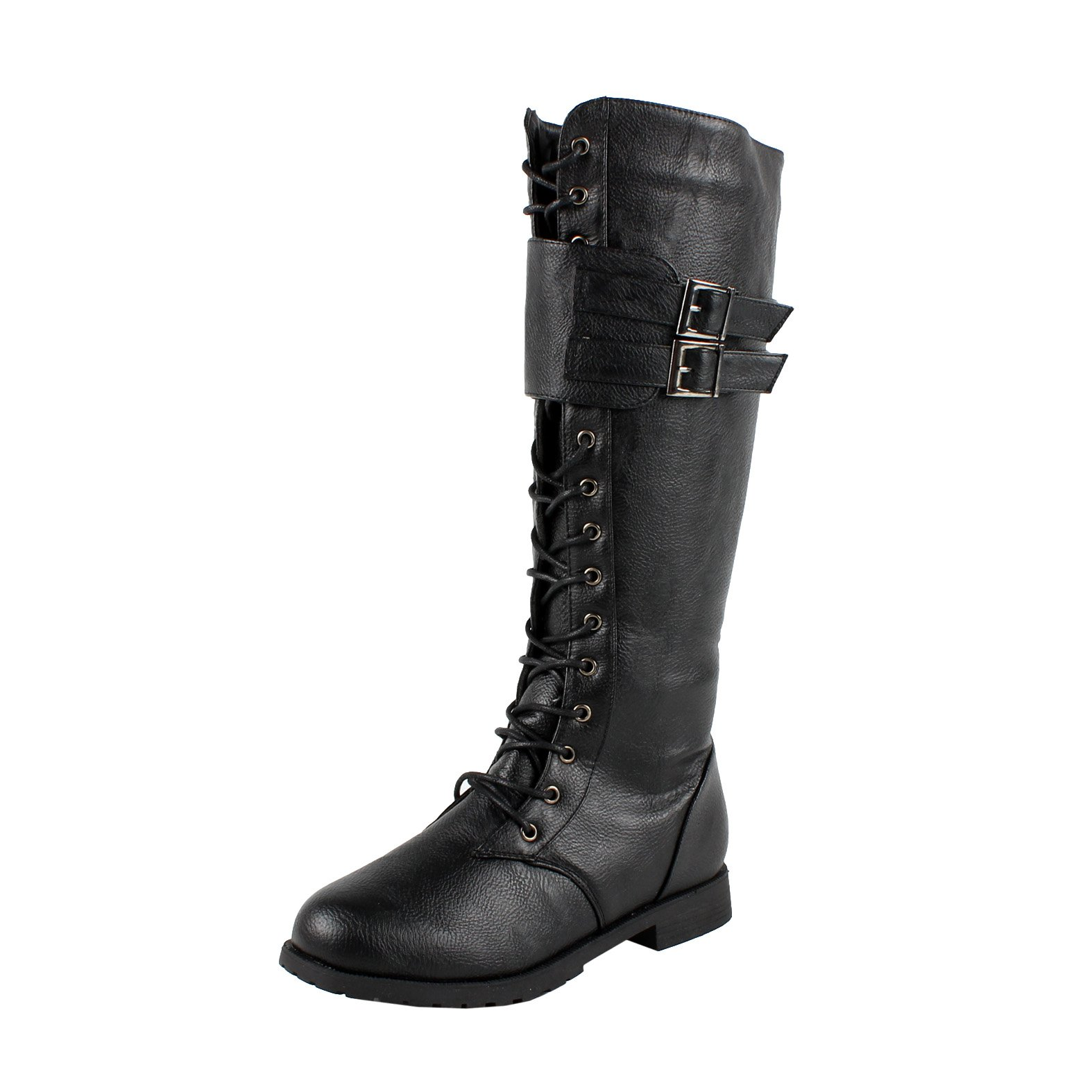 d22211ba6 Galleon - West Blvd Womens MANILA COMBAT Boots Lace Up Military Army  Motorcycle Biker Flat Mid Calf Shoes, Black Pu, US 7.5