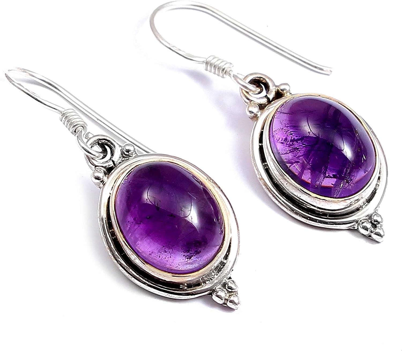 925 pendientes de plata de ley para las mujeres y niñas | Pendientes amatista piedra preciosa natural | Pendientes de gota cuelgan | pendientes hechos a mano joyas de moda