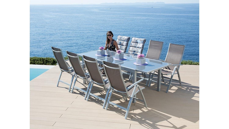 baumarkt direkt Gartenmöbelset Amalfi, 9-tgl., 8 Hochlehner, Tisch ...
