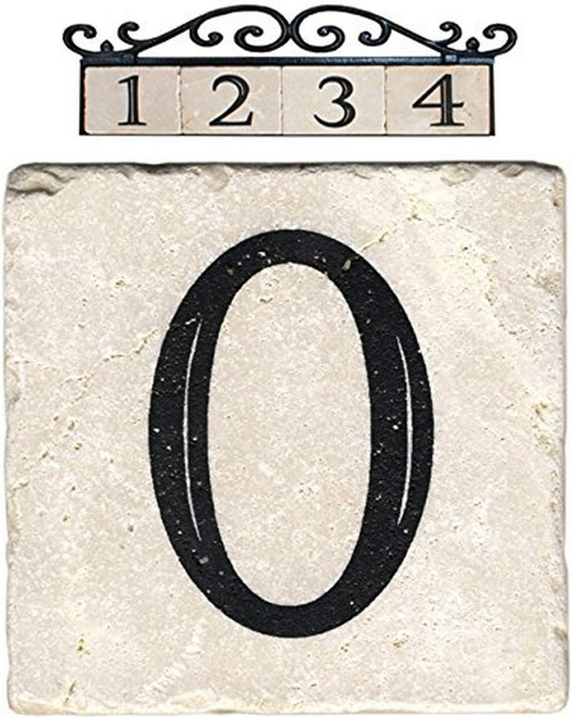 NACH AZ-CLASSIC House Address Number Tiles - #0, Marble/Beige, 4 x 4