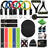 CHAREADA 23 Pack Resistance Bands Set Workout Bands, 5 Stackable Exercise Bands 5 Loop Resistance Bands 2 Core Sliders…