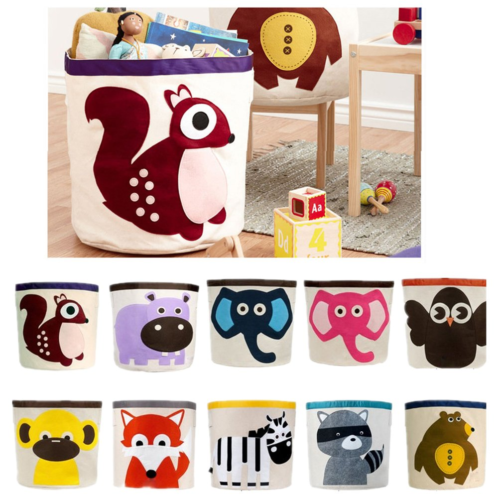Canvas Storage Bins for Kids Toys or Laundry Basket (Monkey)