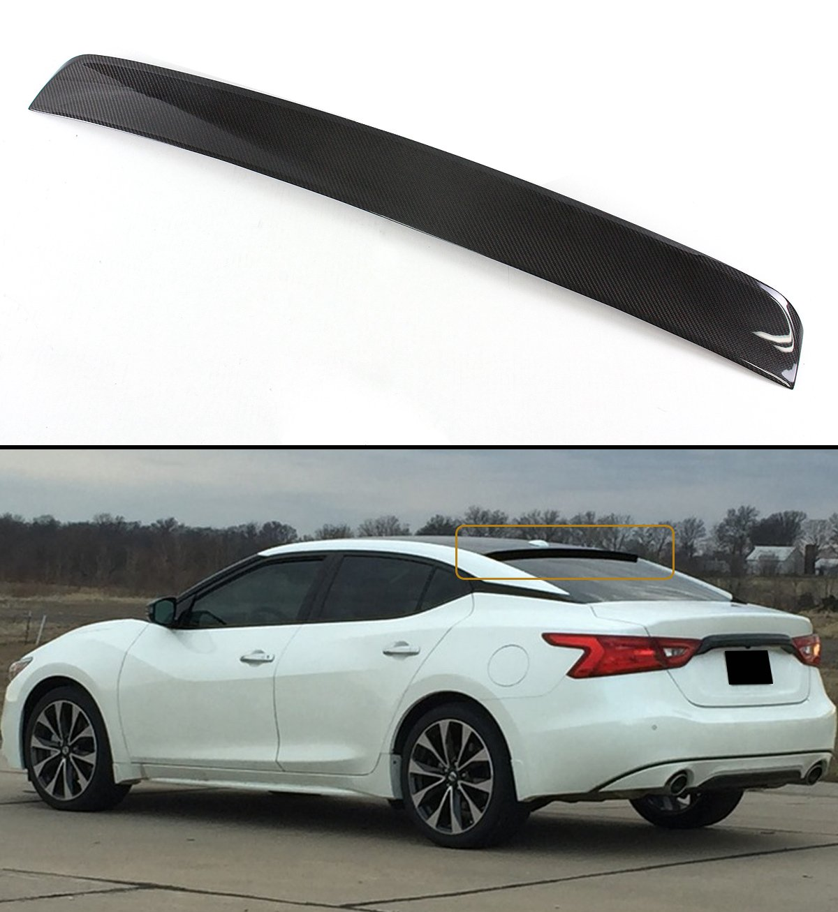 Cuztom Tuning for 2016-2018 8TH GEN Nissan Maxima VIP Carbon Fiber Rear Window ROOF Spoiler Wing