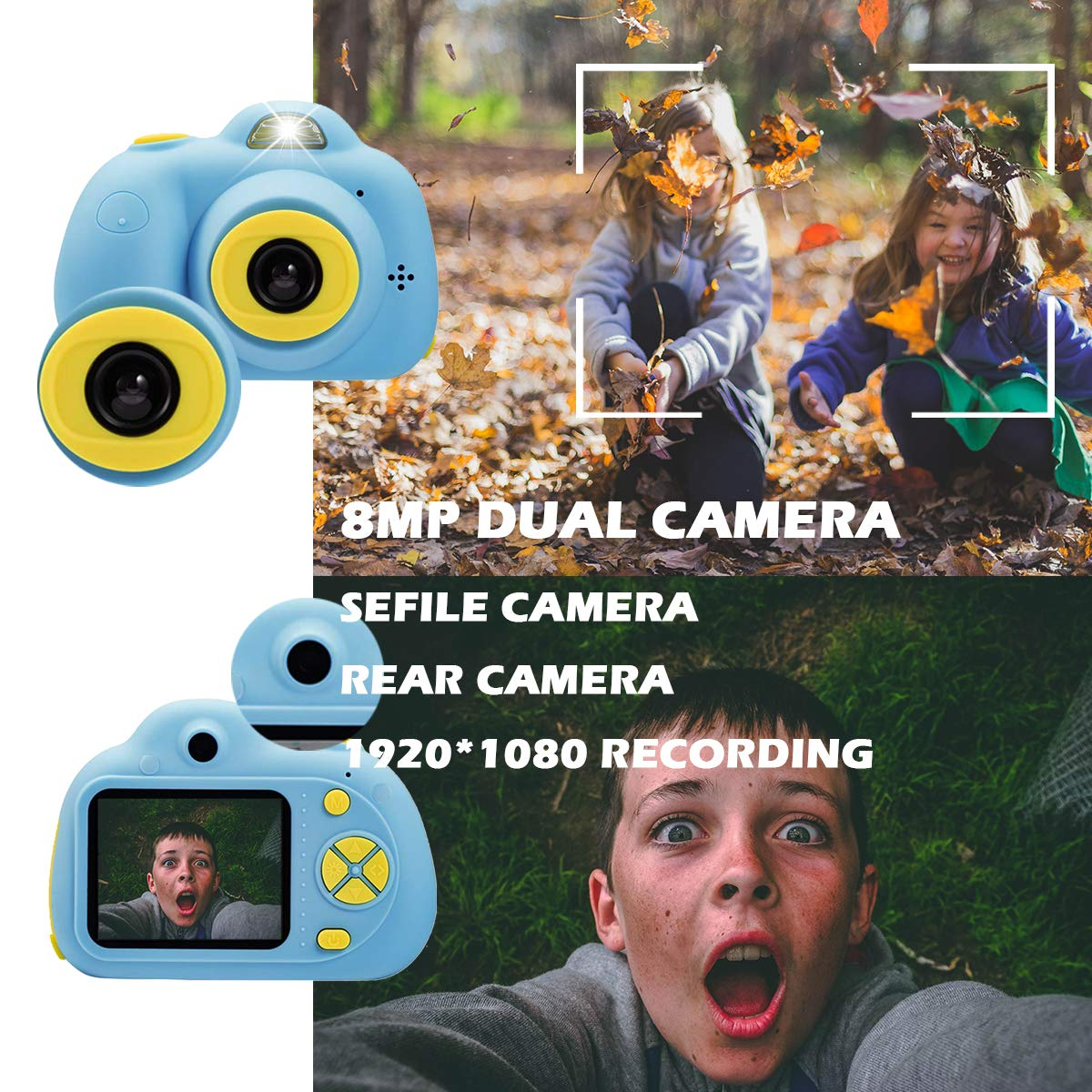 KIDOVE Kids Toys Fun Camera, Waterproof & Shockproof Child Selfie digital game Camcorder, 8MP 1080P dual camera Video Recorder, Creative Birthday Gifts for girls and boys, 16GB TF Card Included (Blue) by KIDOVE (Image #2)