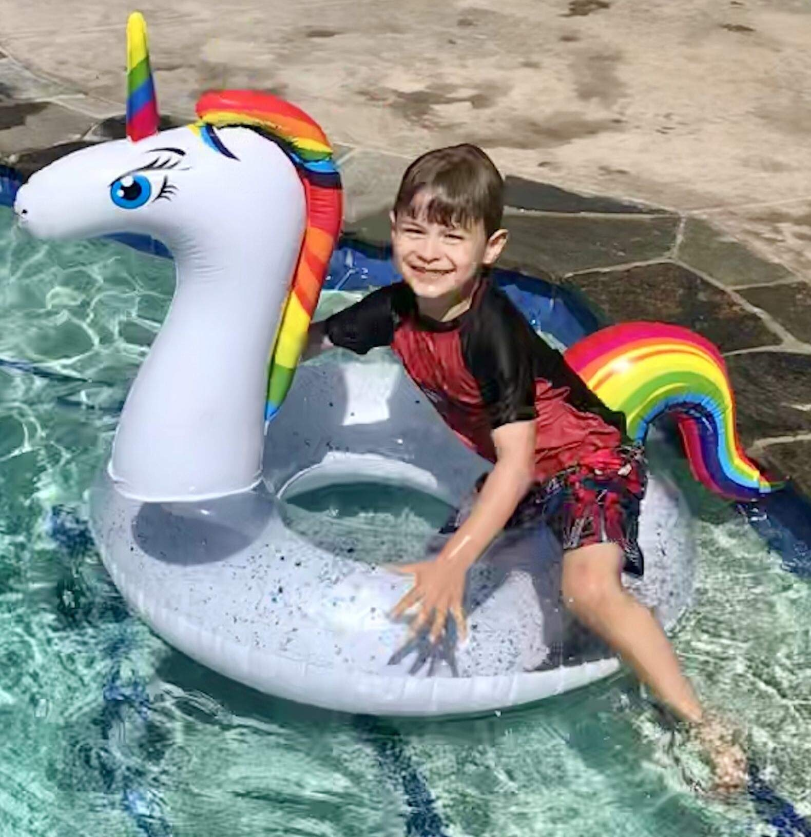 Unicorn Pool Floats for Kids - Glitter Filled - Ride ON Inflatable Unicorn Float for Pool Lake River RAFT - Giant… 5