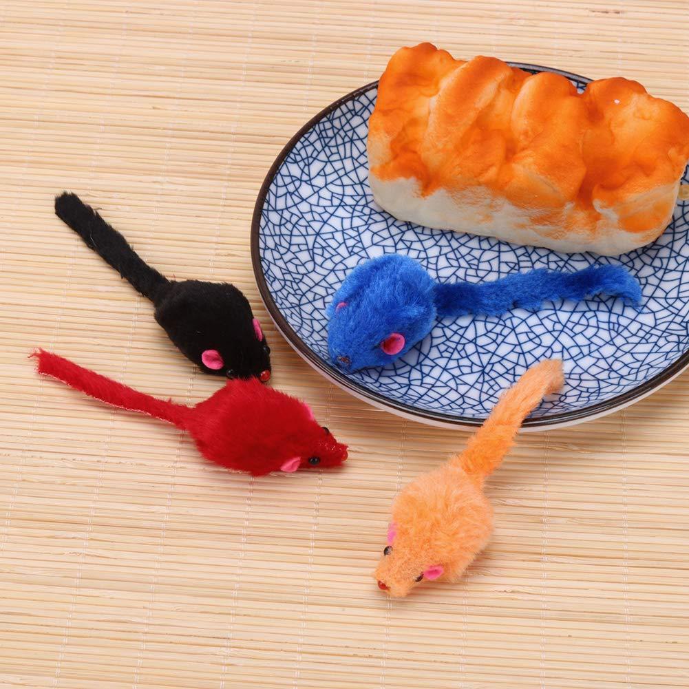 WinnerEco 10pcs//lot Mini Colorful Cat Toys Plush False Mouse Toys for Cats Kitten
