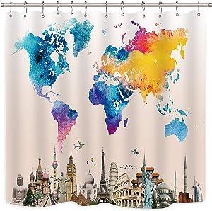 Riyidecor World Travel Map Shower Curtain Colorful Landmark Spot Cultural Statue of Liberty Big Ben Educational Decoration Fabric Set Polyester Bathroom Bathtub 72x72 Inch 12 Pack Plastic Hooks