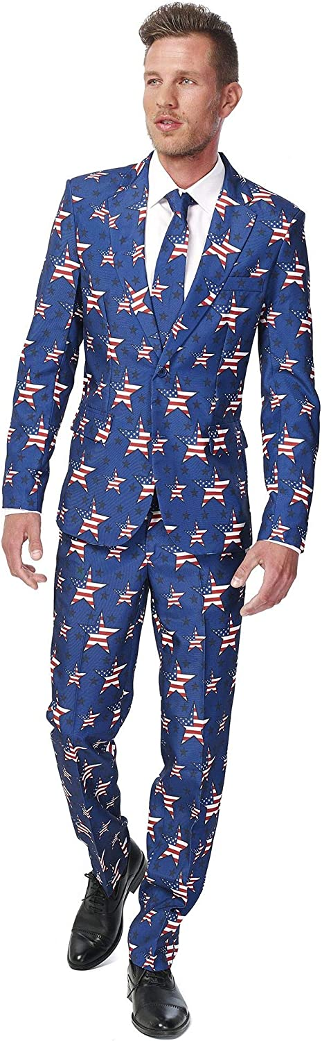 OPPO Suits Prom 3 Pc Stars and Stripes Men/'s Suit Size 38 Halloween Patriot