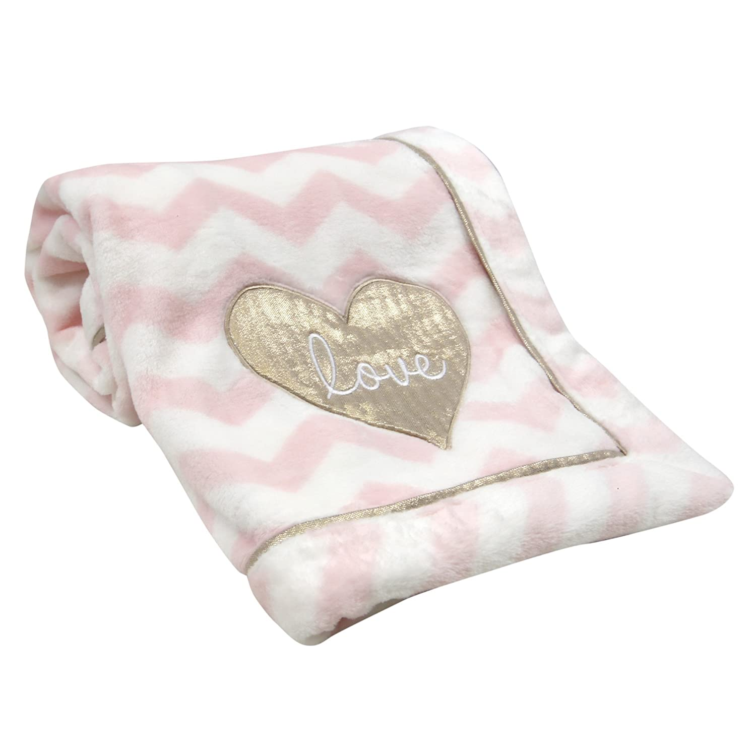 Lambs & Ivy Baby Love Minky Blanket - Pink/White with Gold Love Heart