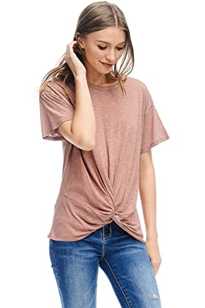b5e04259e4d Alexander + David Womens Short Sleeve Slub Knot Top Casual Basic T-Shirt  Blouse at Amazon Women's Clothing store: