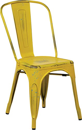 OSP Home Furnishings Bristow Metal Seat and Back Armless Chair