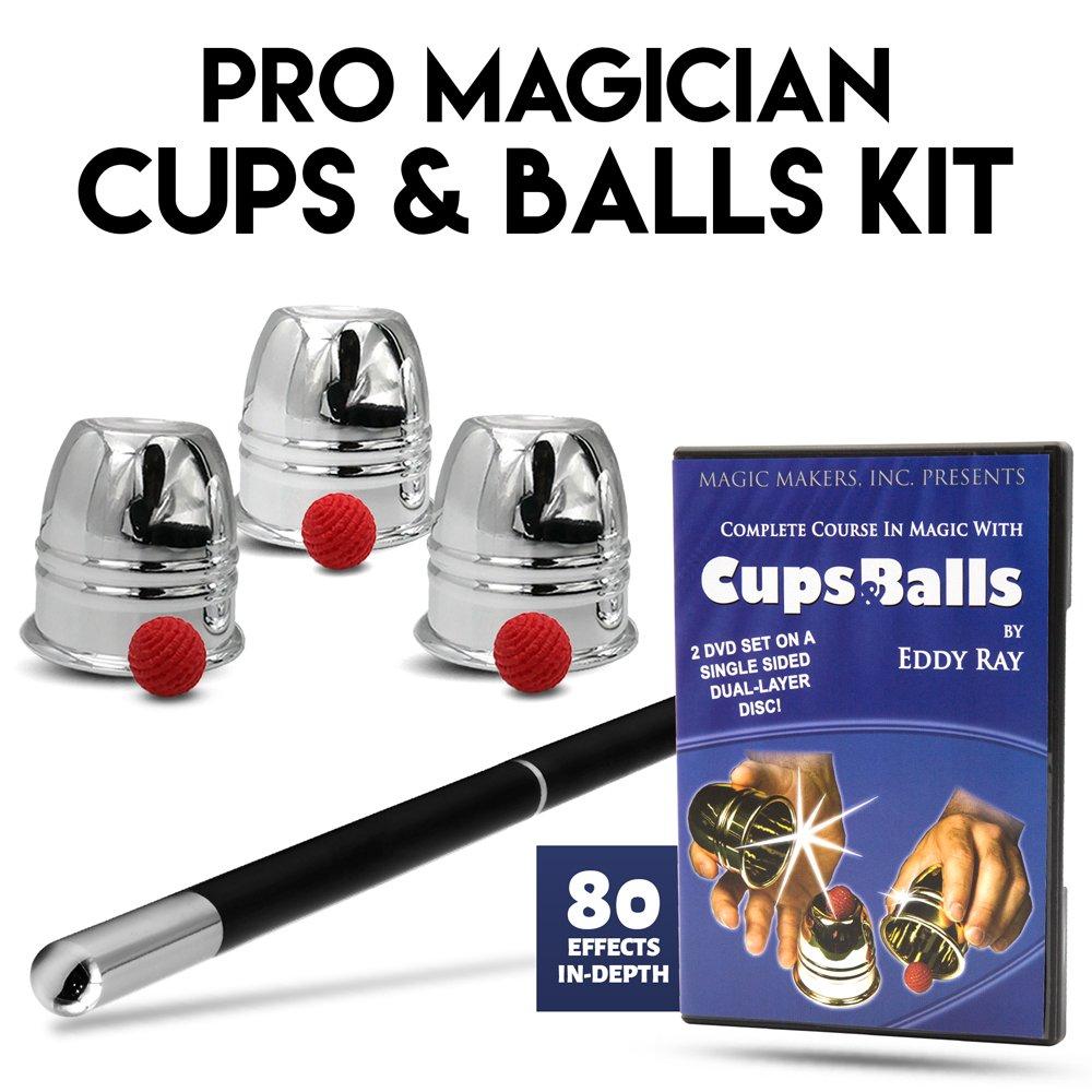 【返品送料無料】 Pro Magician Cups & Balls Kit Balls, by B0741BBZJJ Magic Magic Makers - Includes Cups & Balls, Magic Wand and Cups & Balls Magic Training Guide B0741BBZJJ, 美方町:5cfe1074 --- arianechie.dominiotemporario.com