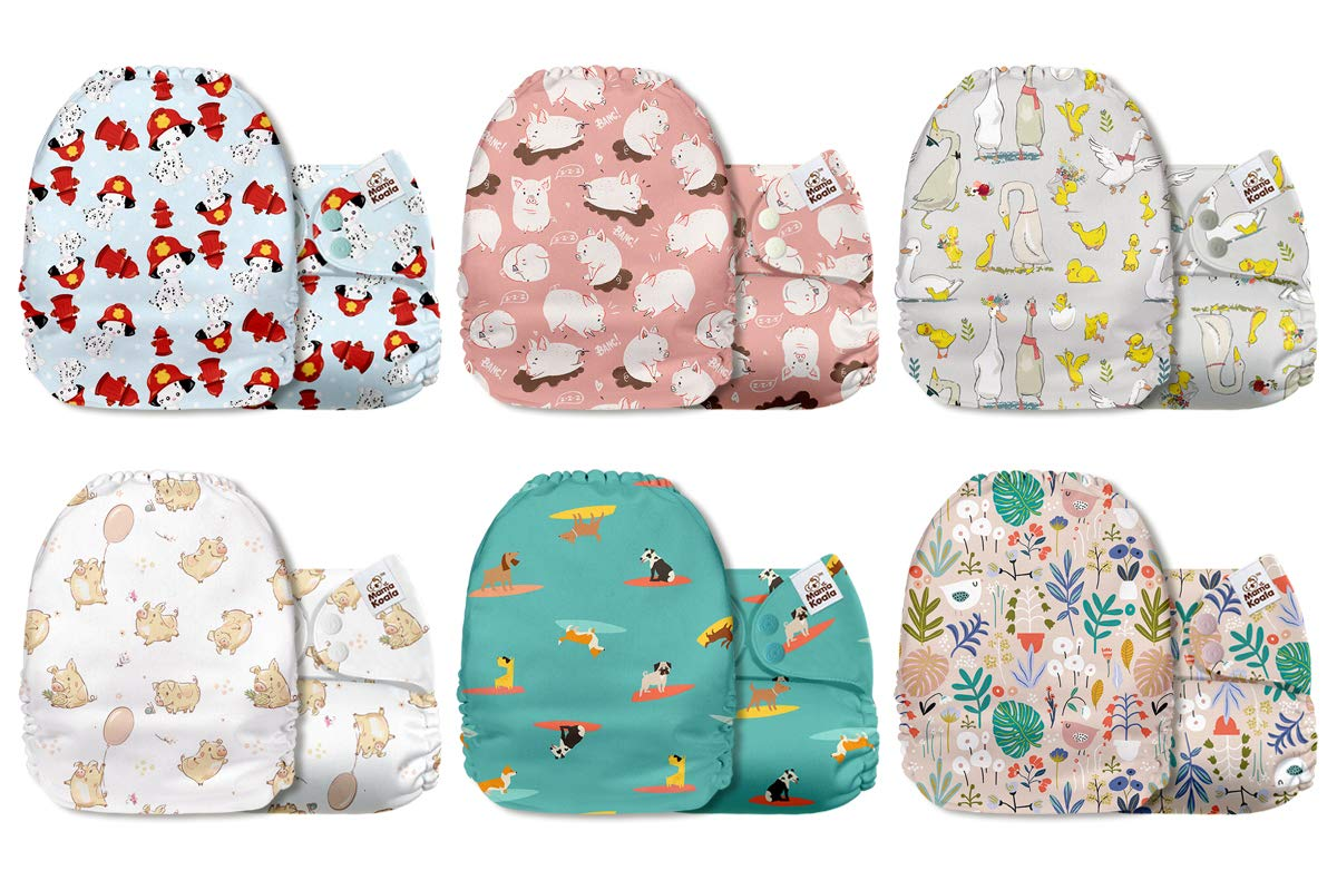 Mama Koala One Size Baby Washable Reusable Pocket Cloth Diapers 6 Pack with 6 One Size Microfiber Inserts Animals Kingdom