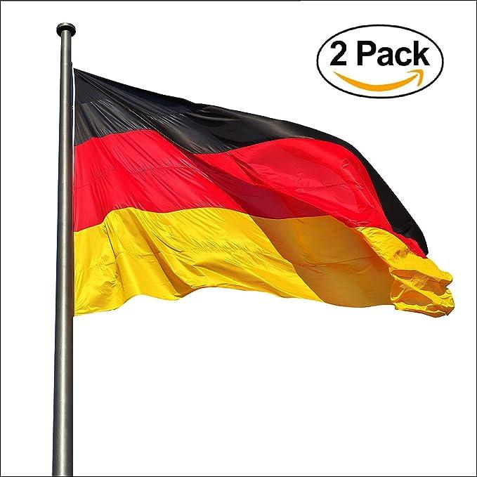 KliKil Bandera Alemania Grande - Pack de 2 Banderas, Bandera de Alemania Balcon, Bandera Alemán para Exterior Jardin y Mastil, France Flag - 150x90 cm: Amazon.es: Jardín