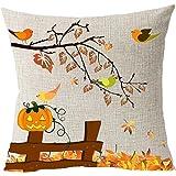 "Thanksgiving Gift Maple Leaf Pumpkin Turkey Celebrate Harvest Animal Birds Cotton Linen Square Throw Waist Pillow Case Decorative Cushion Cover Pillowcase Sofa 18""x 18"" (18''X18'' Inches, 4)"