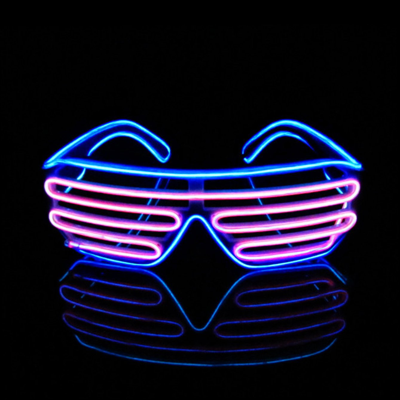 Pinfox Light Up Flashing Shutter Neon Rave Glasses El Wire LED Sunglasses Glow DJ Costumes For Party, 80s, EDM RB03 (Blue + Pink)