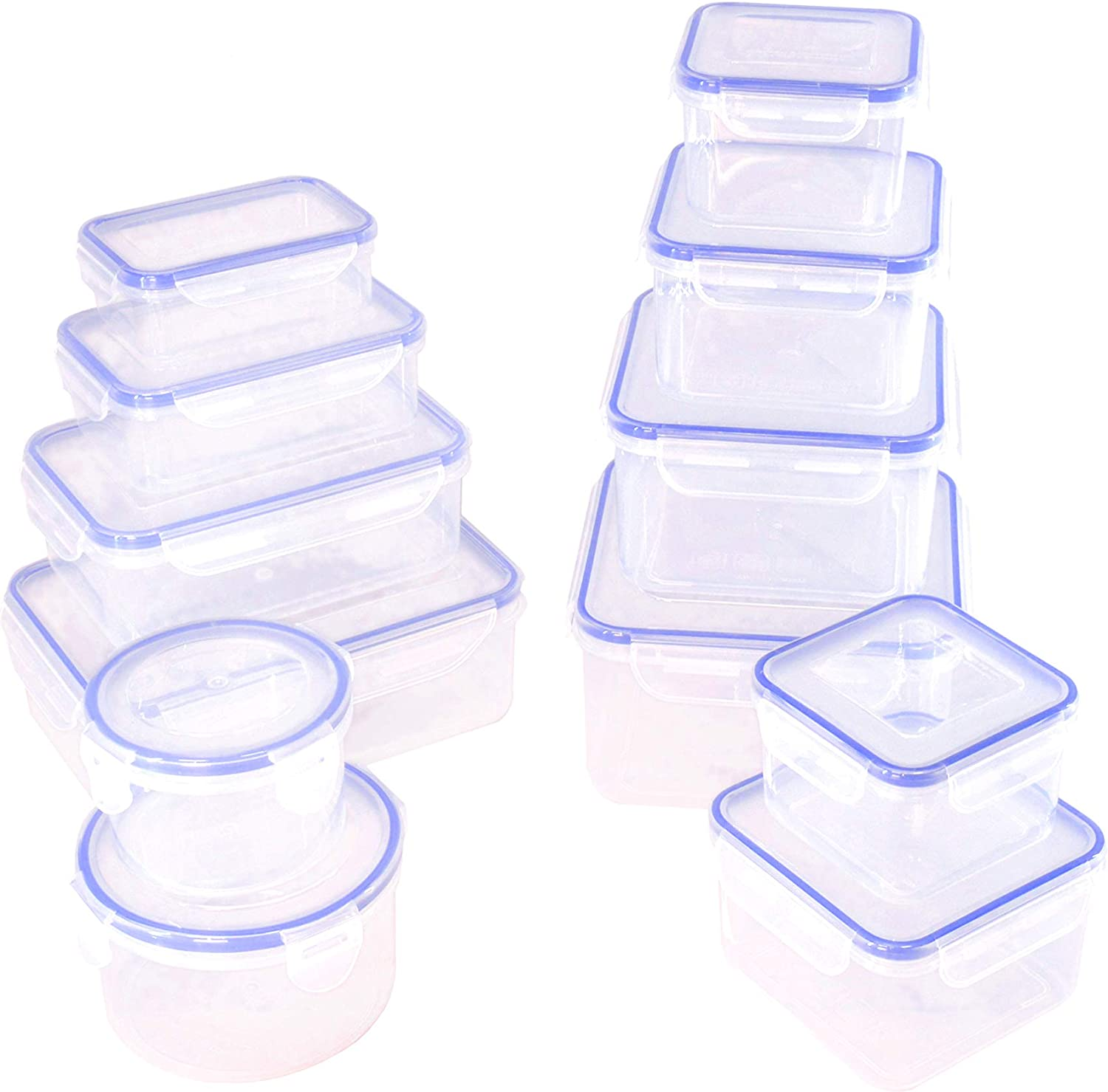 12 pcs Food Storage Containers with Lids @ Airtight Leak Proof Easy Snap Lock and BPA-Free Plastic Container Set @ Plastic Food Containers with Lids @ Plastic Containers with Lids (Blue)