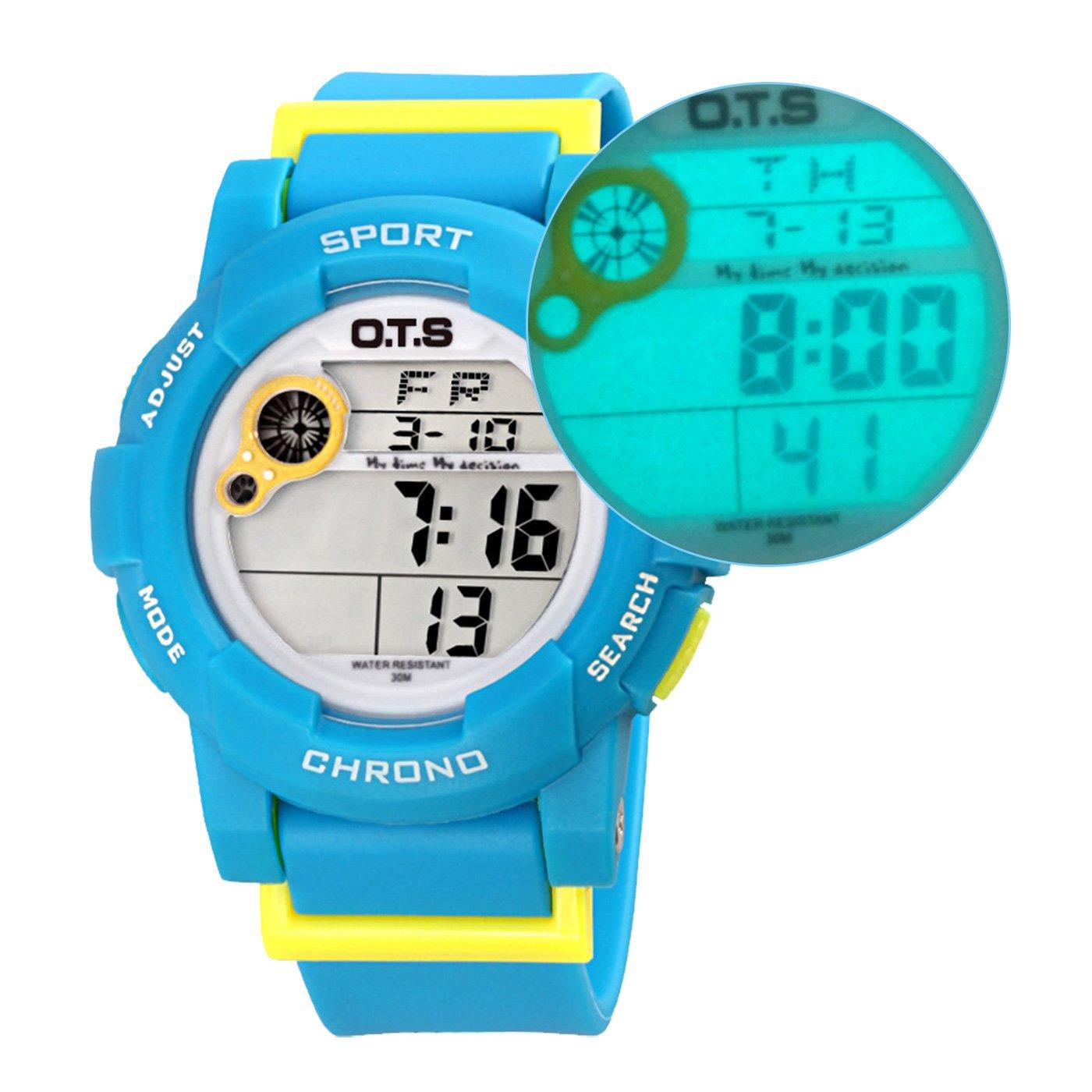 OTS - Reloj Digital Deportivo Impermeable con Alarma Luminoso de Cuarzo Cronómetro para Niños Niñas y Estudiantes - Color Azul: Amazon.es: Relojes