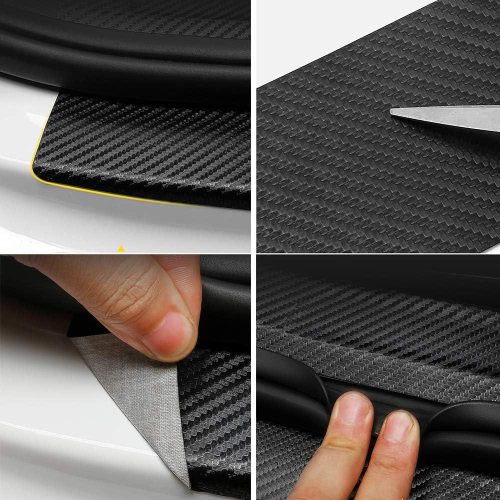 Lezed Pegatinas de Fibra de Carbono para el Umbral de la Puerta Protectores de Umbral de la Puerta del Coche Fibra de Carbono Adhesiva Pegatinas Autoadhesivo Impermeable 8unids