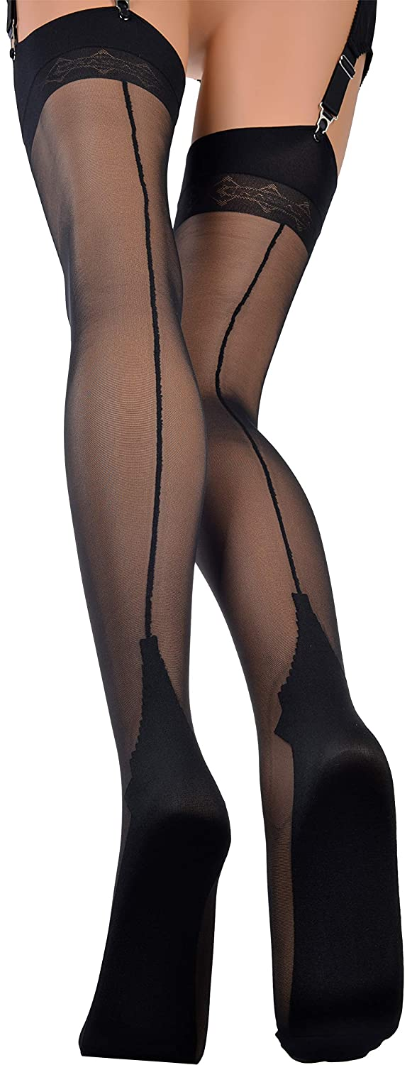 9102265b2 Cuban Heel RHT made in Italy Pennac Trasparenze Fully Fashioned Stockings