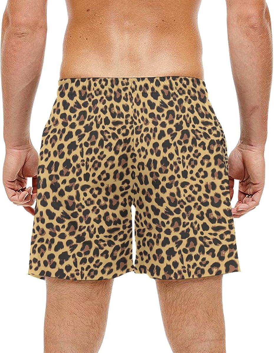 LORVIES Mens Leopard Pattern Design Beach Board Shorts Quick Dry Swim Trunk