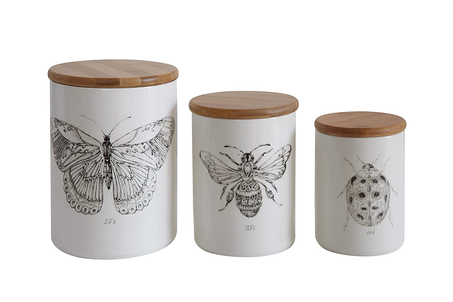 Stoneware jar with bee image for French farmhouse style spaces and European country decorating.