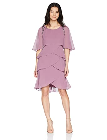 87678e8c1f2fd S.L. Fashions Women s Attached Cape Beaded Tier Dress (Petite and Regular  Sizes)