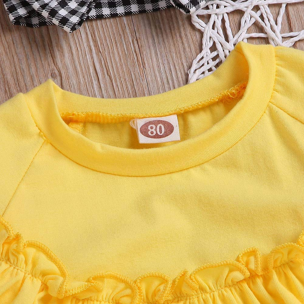 NUWFOR Toddler Baby Long Sleeve Solid Ruffle Tops+Plaid Pants+Headband Outfit Clothes (Yellow,18-24 Months by NUWFOR (Image #5)