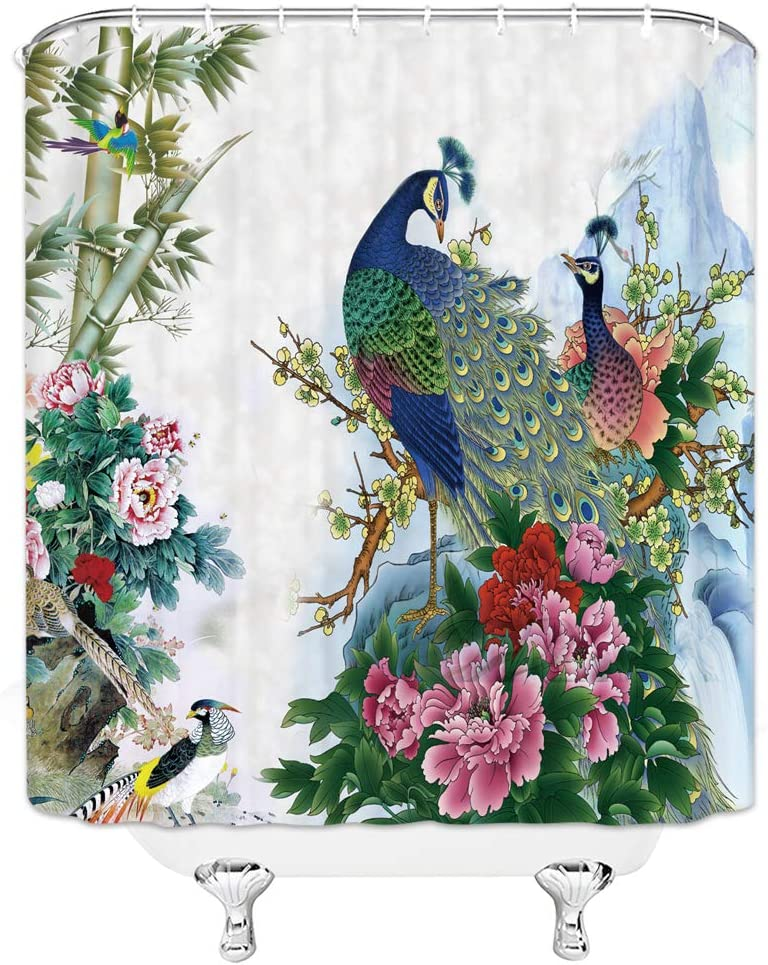 Shower Curtain with Peacock Tropical Flowers Pattern, Polyester Fabric Bath Curtains Set