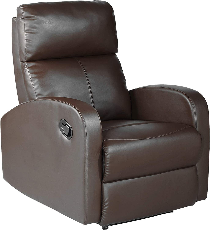 MOMMA HOME Sillón Relax reclinable Med - Modelo TAVIRA - Color Marrón - Material Ecopiel/Metal - Medidas 71 x 93 x 101 cm