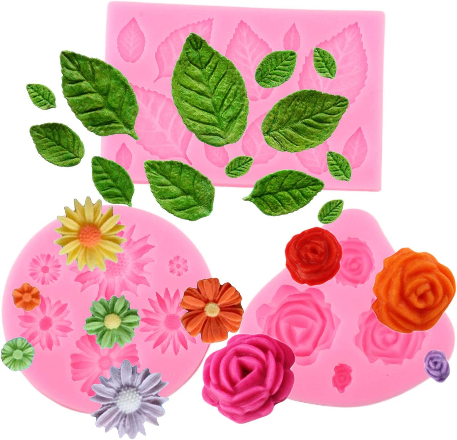 Mujiang Mini Leaves Silicone Mold 3 Pack Fondant Cake Mold Daisy Rose Sunflower Candy Baking Tools