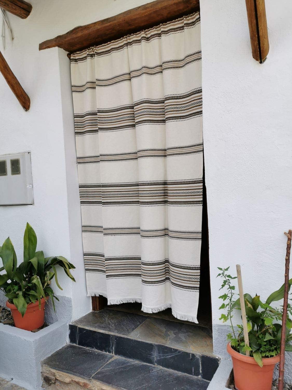 Cortina Alpujarreña Rustica,(160 x 215 cm), Crudo Marrón Color 103 Hecha en España, Fibra Natural de algodón - Cortina para Puerta Exterior mosquitera y Parasol + Alfombra Jarapa de algodón