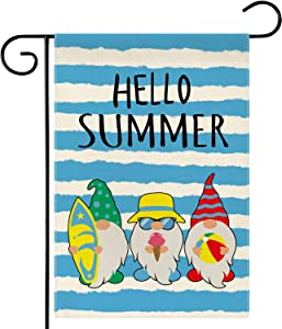 Dsweesun Hello Summer Gnome Garden Flag, Vertical Double Sided Burlap Beach Swimming Pool Farmhouse Outside Decorative Flag, Spring Summer Porch Law Yard Outdoor Decor, 12.5 x 18 Inch