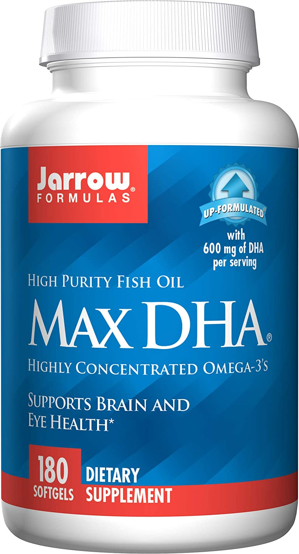 Jarrow Formulas Max DHA, Supports Brain and Eye Health, 180 Softgels