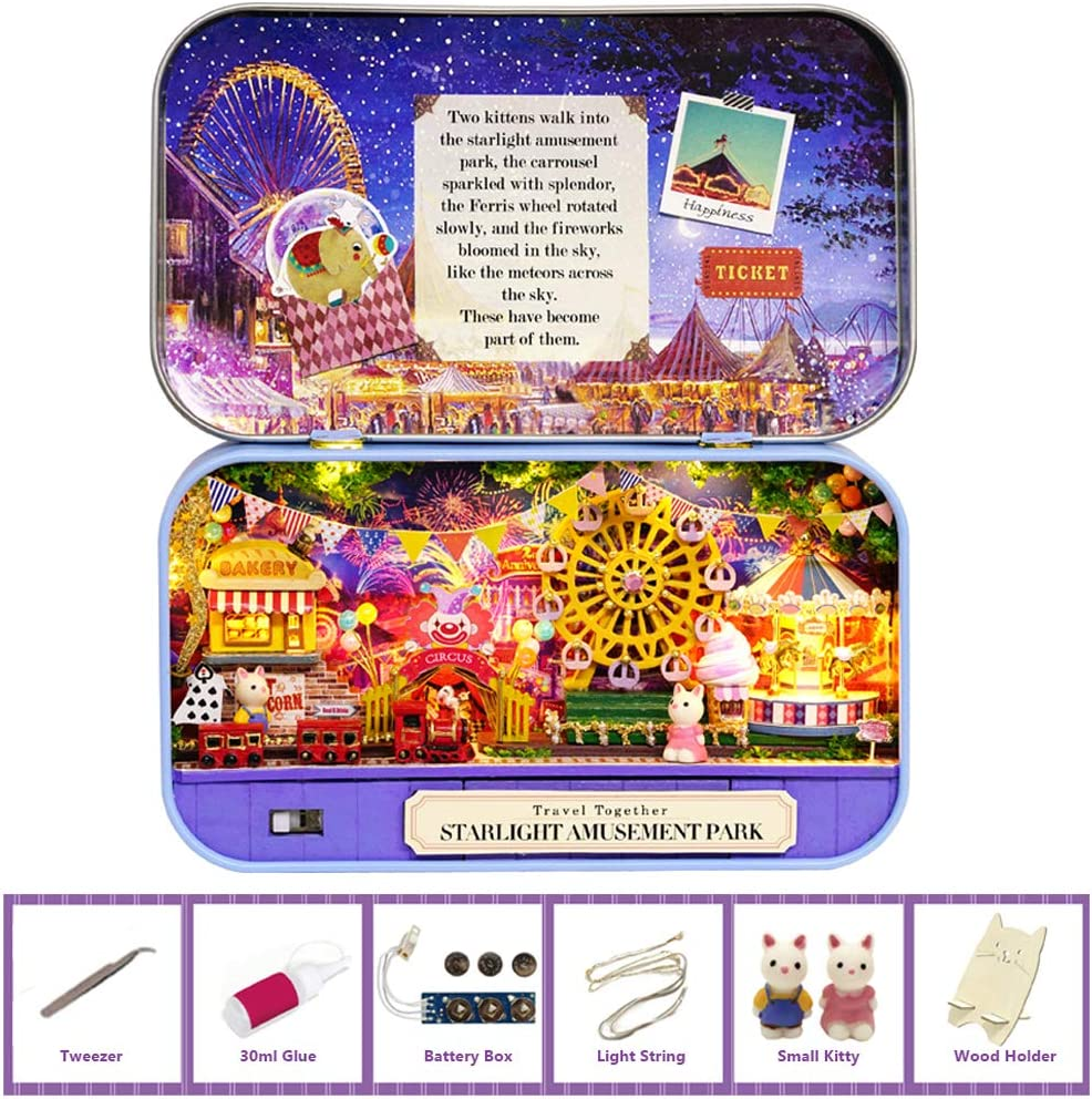 MAGQOO 3D Wooden Dollhouse Miniature DIY Doll House Kit with Furniture,1:24 DIY Box Theater Kit (Amusement Park)