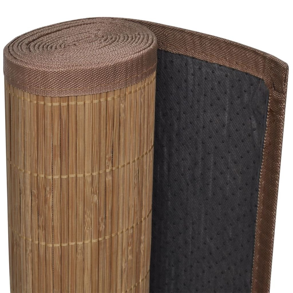 Bordure polypropyl/ène avec sous-Tapis en PVC antid/érapant Nishore Tapis en Bambou Brun /à Latte Rectangulaire 150 x 200 cm Surface de Bambou