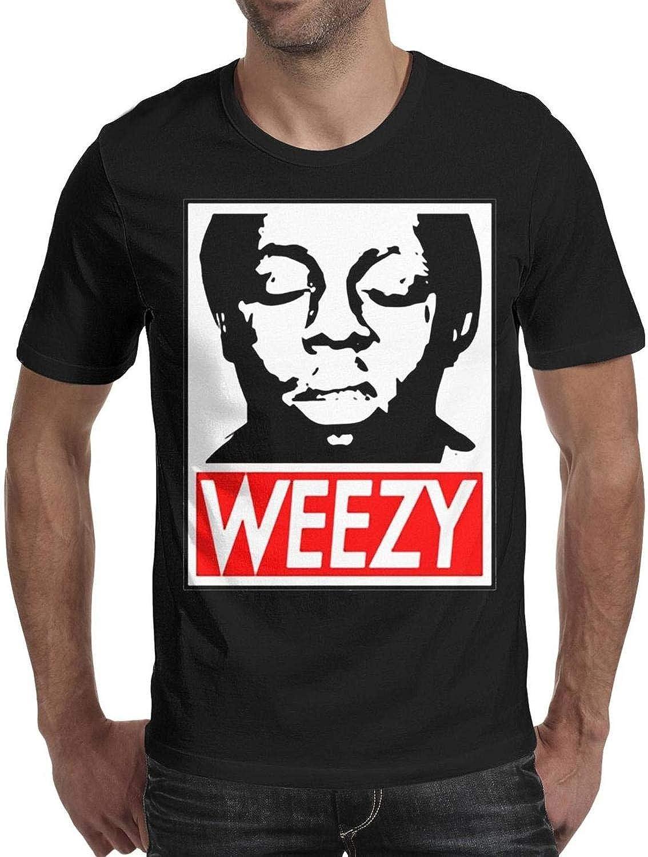 SINGKING Mens Lil-Wayne-Logo-White Cotton Short Sleeved Tee Shirts