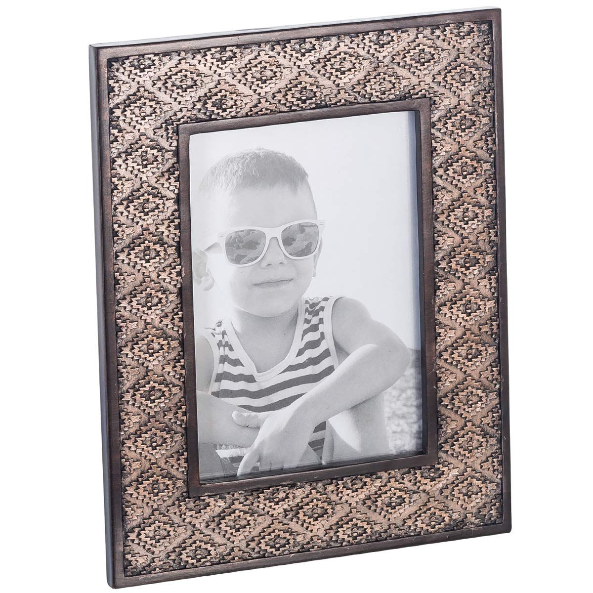 Dublin 5 X 7 Picture Frame - Table Desktop Photo Frame Display with Glass Front & Easel Back, Decorative Decals for Living Room - Gift Idea for Grandma, Grandpa, Mom, Dad (Brown)