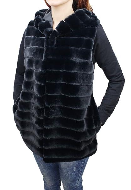 92f0cfa00b2ab0 Pelliccia donna sintetica ecologica nero pellicciotto con cappuccio (m)