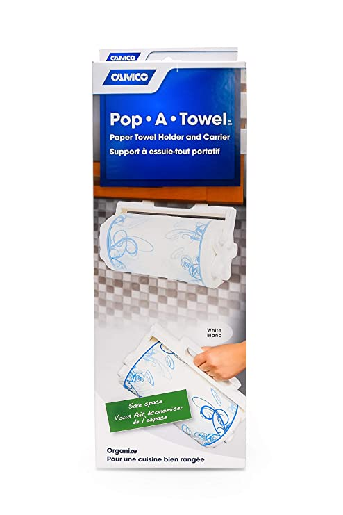 Camco Pop-A-Towel- Mountable or Portable Paper Towel Holder Dispenser, Keep  Paper Towels Clean, Conserve Space in Your RV Kitchen (White) (57111)
