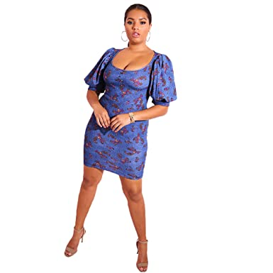 8b4e3fb441b7 Rebdolls Women s Cocktail Scoop Neck Paisley Print Puff Sleeve Mini Bodycon  Dress Plus Sizes at Amazon Women s Clothing store