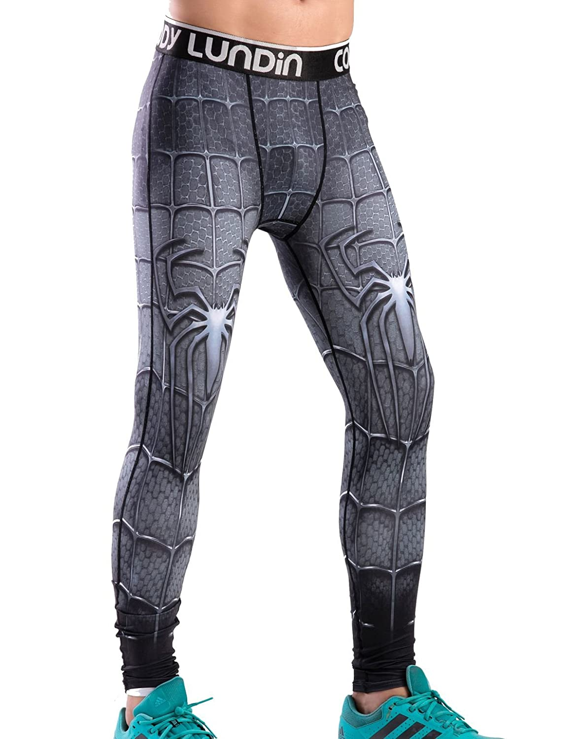 Red Plume Mens Compression Elastic Tight Leggings Sport Spider Printing Pants