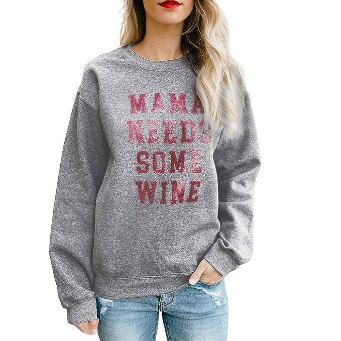 Sudaderas Mujer Tumblr,❤ Amlaiworld Sudadera Suelta de Manga Larga Casual con Estampado de Letras para Mujer de otoño Cimas cálidas Camisetas y Camisas ...