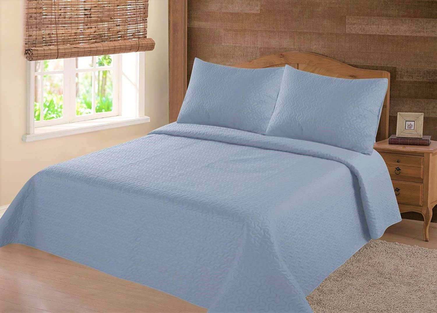 GorgeousHomeLinen (NENA) 2/3-Piece Slate Blue Solid Hypoallergenic Quilt Bedspread Bed Bedding Coverlets Cover Set with Pillow Cases (Full)